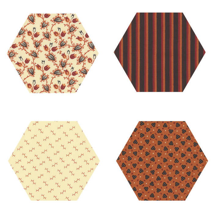 Fabric Hexagons - Bramblewood