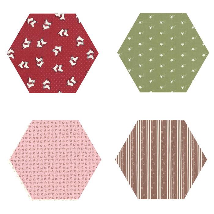 Fabric Hexagons - Mistletoe Lane
