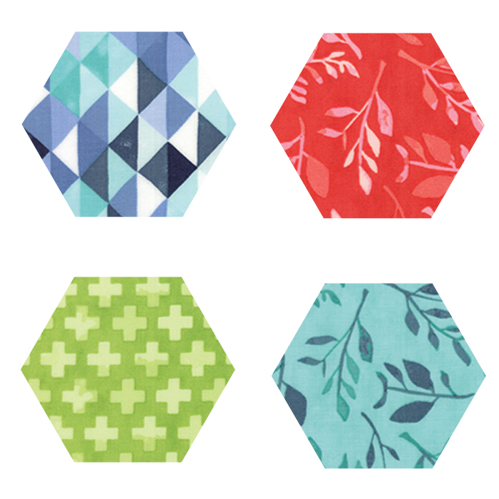 Fabric Hexagons - Hazelwood
