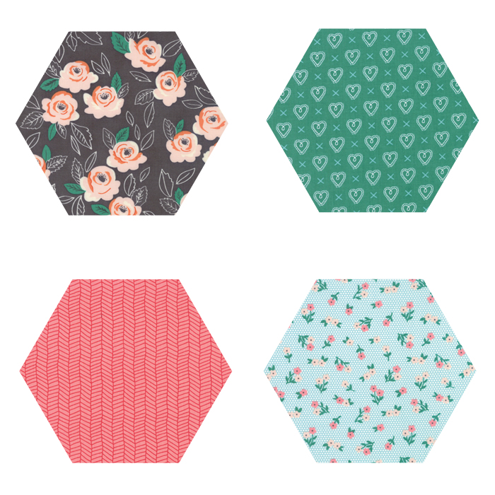 Fabric Hexagons - Sugar Pie