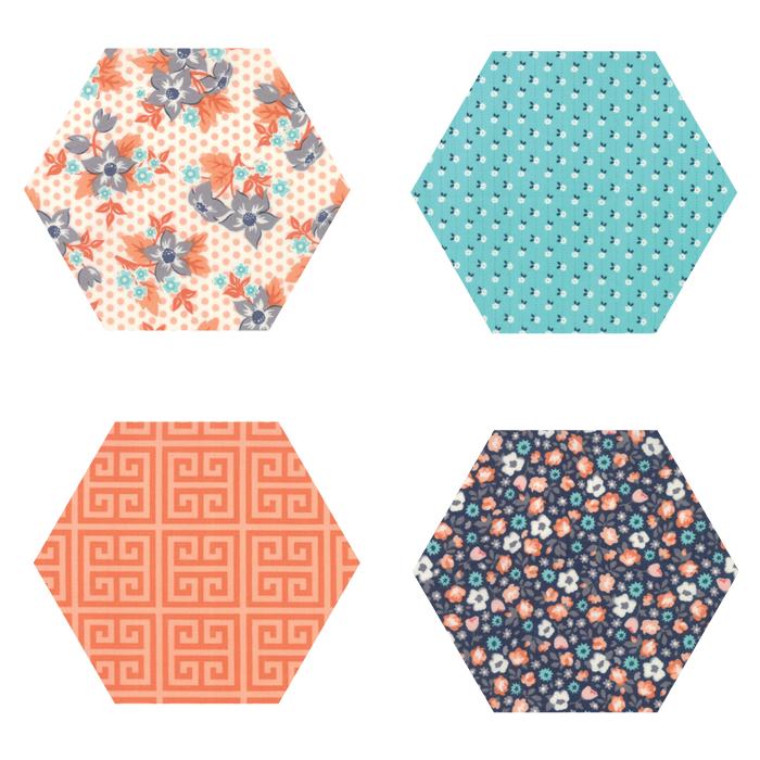 Fabric Hexagons - Sweet Marion