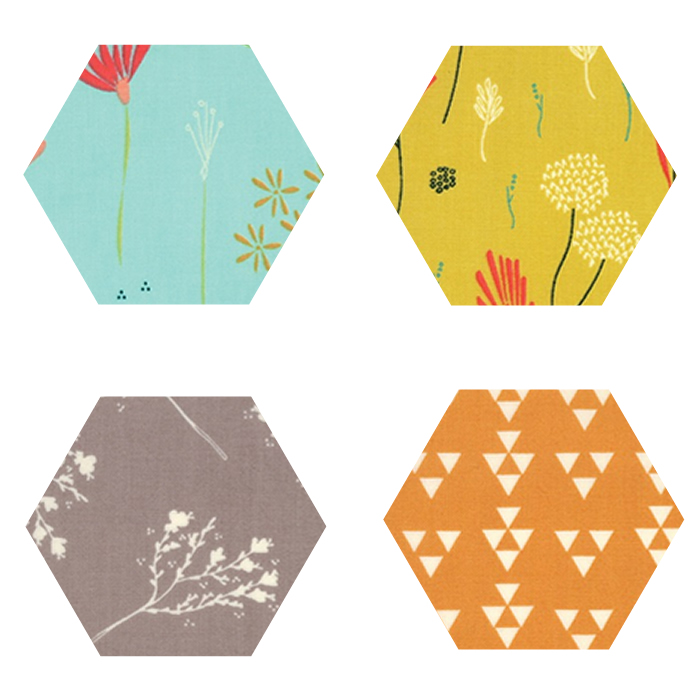 Fabric Hexagons - Desert Bloom