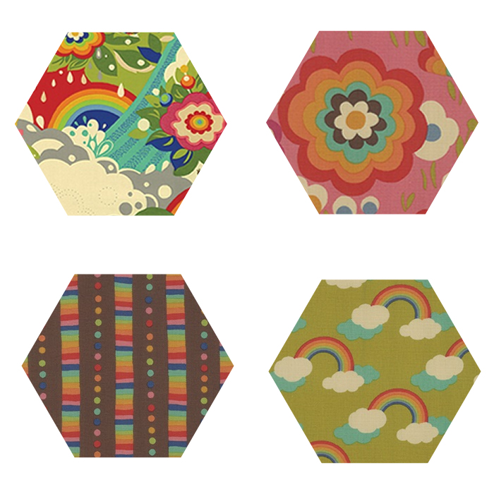 Fabric Hexagons - Flying Colors Prints