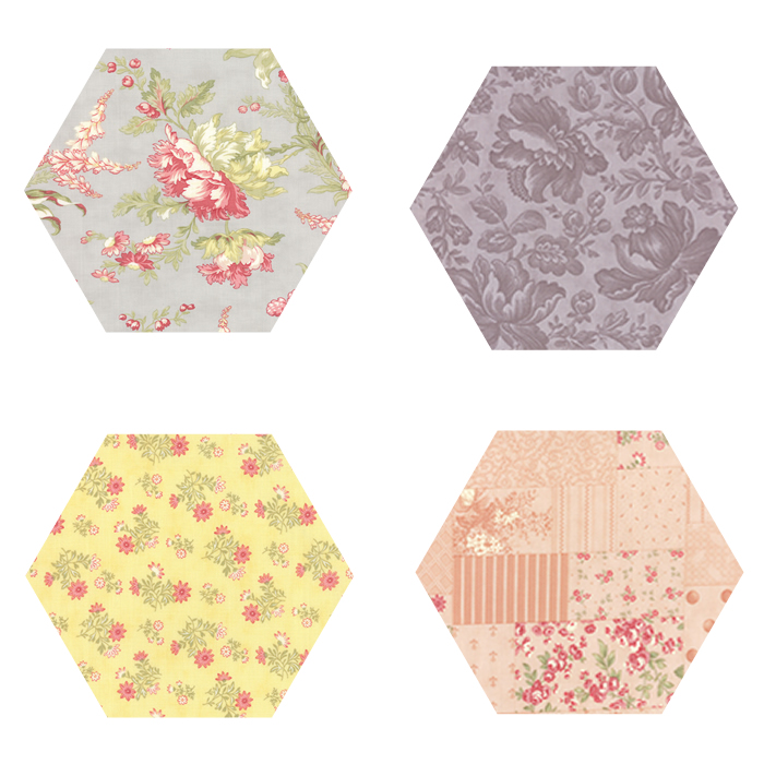 Fabric Hexagons - Whitewashed Cottage