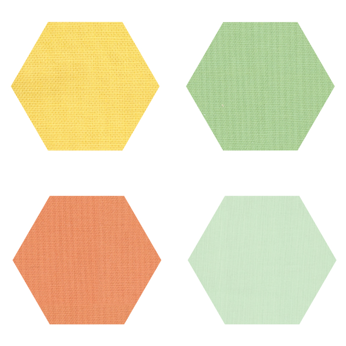 Fabric Hexagons - Small - Warm Pastels