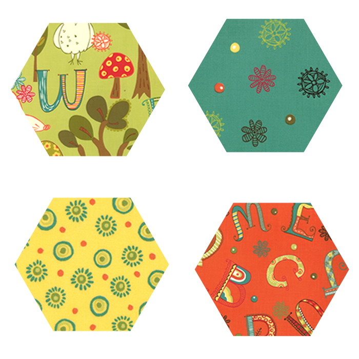 Fabric Hexagons - Mind Your Ps and Qs