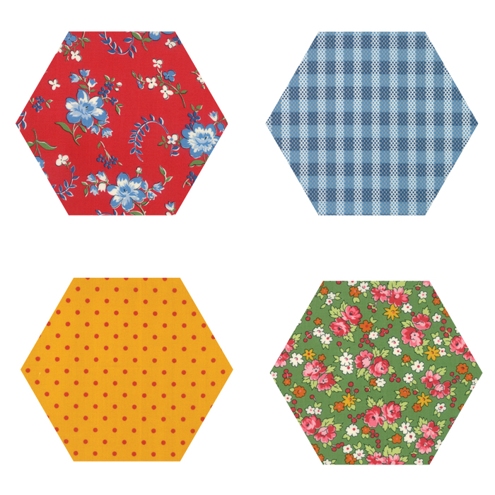 Fabric Hexagons - Spring-a-Ling