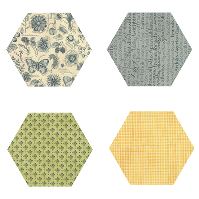 Fabric Hexagons - Garden Notes