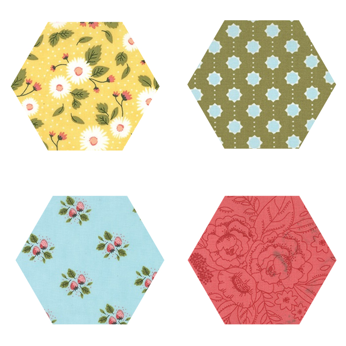 Fabric Hexagons - Little Miss Sunshine