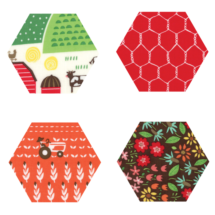 Fabric Hexagons - Farm Fun
