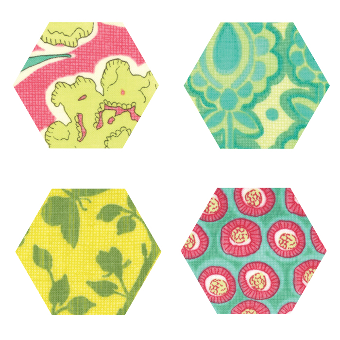 Fabric Hexagons - Spring House
